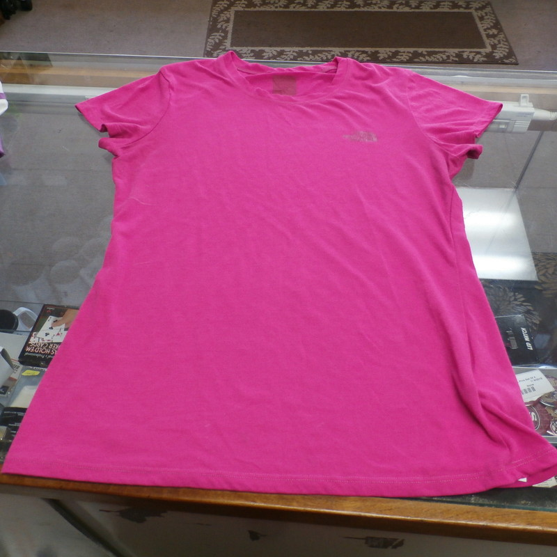 The North Face Women&#039;s Cap Sleeve Shirt MISSING TAG Pink Polyester #23797<br /> Rating: (see below) 4 - Fair Condition<br /> Team: n/a<br /> Player: n/a<br /> Brand: The North Face<br /> Size: Women&#039;s - Missing Tag(Measured: Across chest 16&quot;, length 22&quot;)<br /> Measured: Armpit to armpit; shoulder to hem<br /> Color: Pink<br /> Style: Cap sleeve screen pressed shirt<br /> Material: 100% Polyester<br /> Condition: 4 - Fair Condition; wrinkled; pilling and fuzz are present; material feels coarse; material is stretched; Missing material tag; white marks on the right front side; definite signs of wear<br /> Item #: 23797<br /> Shipping: FREE