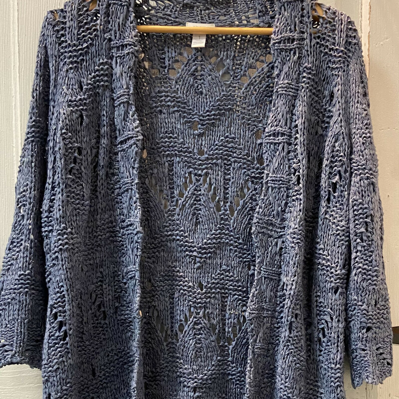 Blue Open Weave Cardigan.