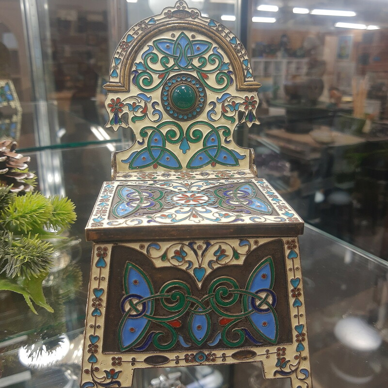 Russian Cloisonne Master salt throne. Moscow late 1800 early 1900s. Marked<br /> <br /> Please call or email for specific dimensions etc. Return are generally not allowed on consignment items. Any returns authorized are subject to a 20 % restocking fee!