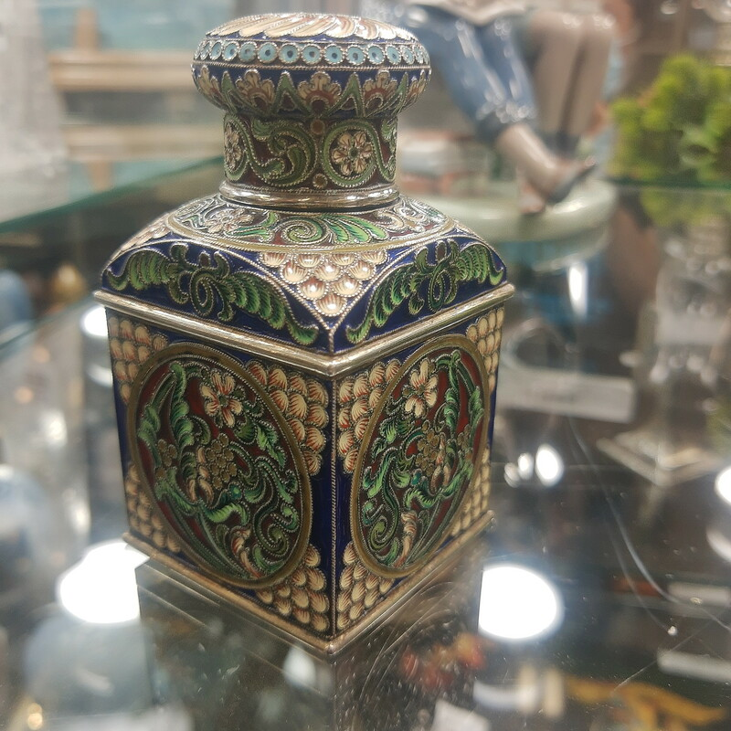 Russian Tea Caddy 1890S, Fantastic enameling! St Petersburg. Purchased in Russia in the 1970s<br /> <br /> Please call or email for specific dimensions etc. Return are generally not allowed on consignment items. Any returns authorized are subject to a 20 % restocking fee!