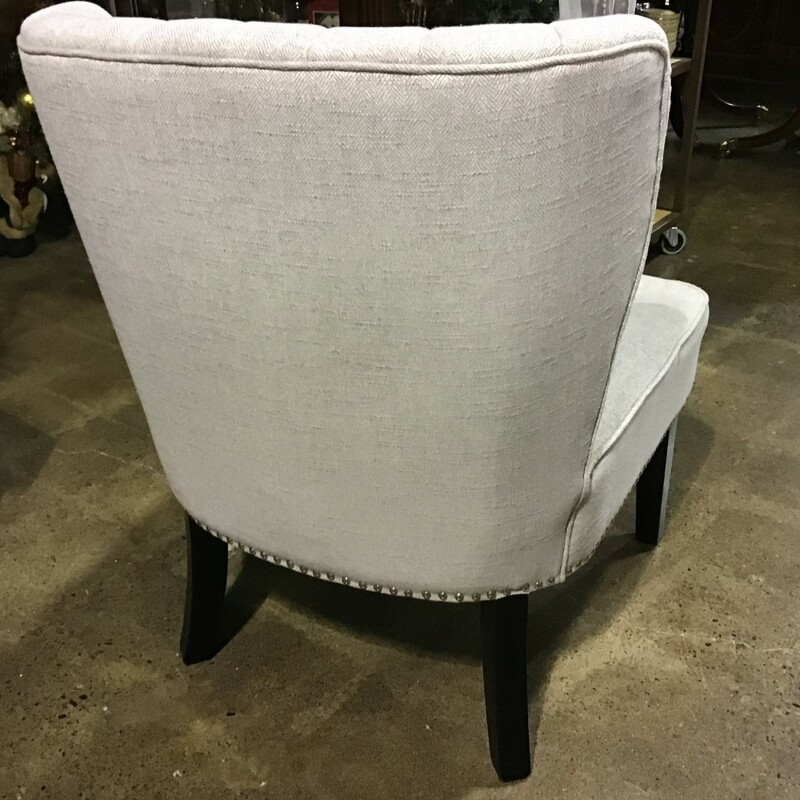 "This beautiful slipper chair is upholstered in a gray heringbone fabric and has silver nailhead trim. It has a tufted back in a beautiful shape! Great chair for a family room or bedroom! There is also a matching chair in stock, which is sold separately.<br /> Dimensions are 25"" x 24"" x 33-1/2"""