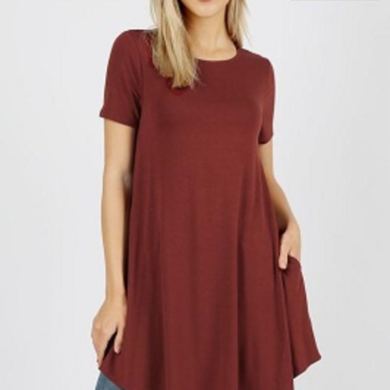 Purchase one of our Brick Zenana Pocket Dresses for this upcoming fall season. These colors are perfect fall colors and they just pop. They are made of 55% Polyester, 40% Rayon and 5% Spandex. They have a length of 35in, great to wear to any get together.
