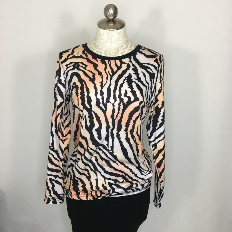 Tiger Print Long Sleeve, White An, Size: Small