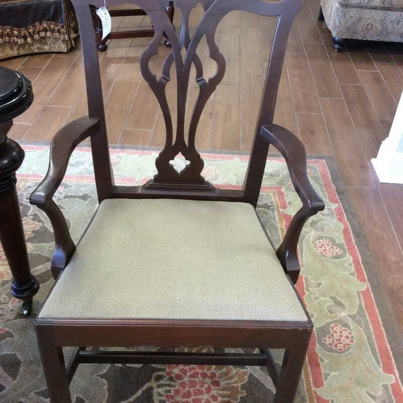 This set of 6 would be a great bring-back-to-life project for the creative person! A set of 6 upholstered dining room chairs. Solid wood construction with lovely curved lines, reminiscent of the past. The seats have been upholstered in a
