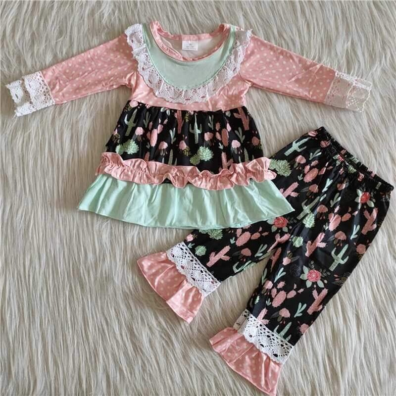 2pc Fashion Ruffle Set, Pink, Size: 6 Girl