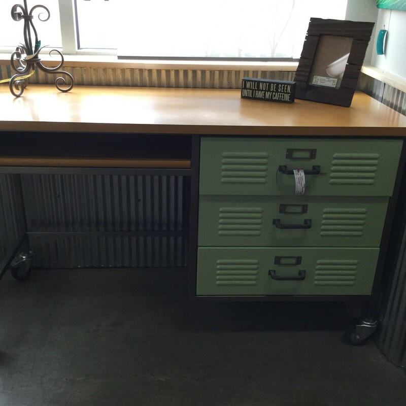 "Vintage Look Desk, Green Drawers, Size: 52""X21""X30"""