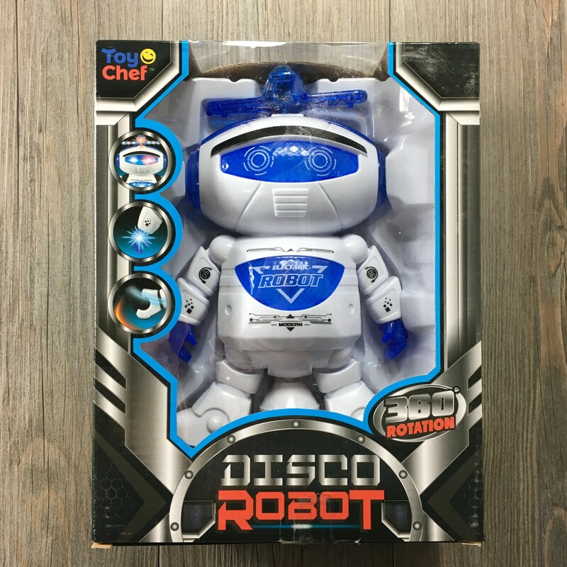 Disco Robot, Blue/whi, Size: New