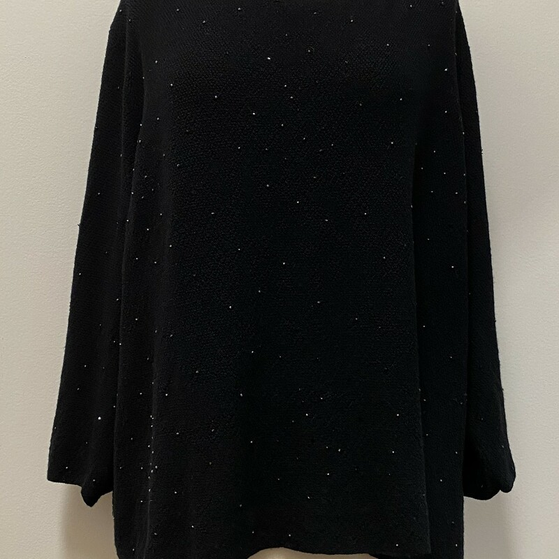 Eileen Fisher Bejeweled Sparkle Sweater<br /> Color: Black<br /> Size: 3XL