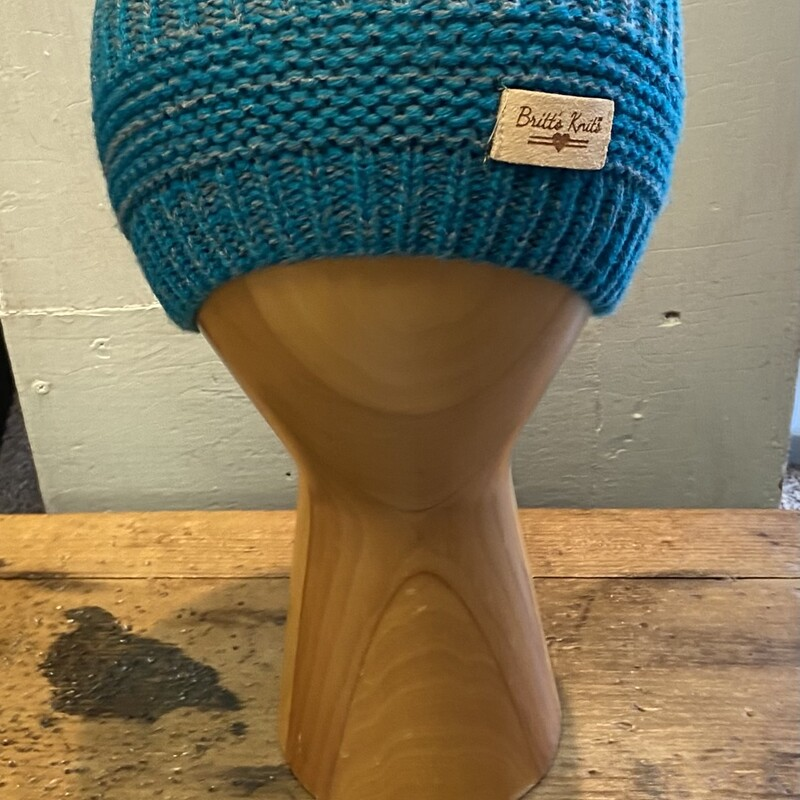 Teal/gry Knit Hat.