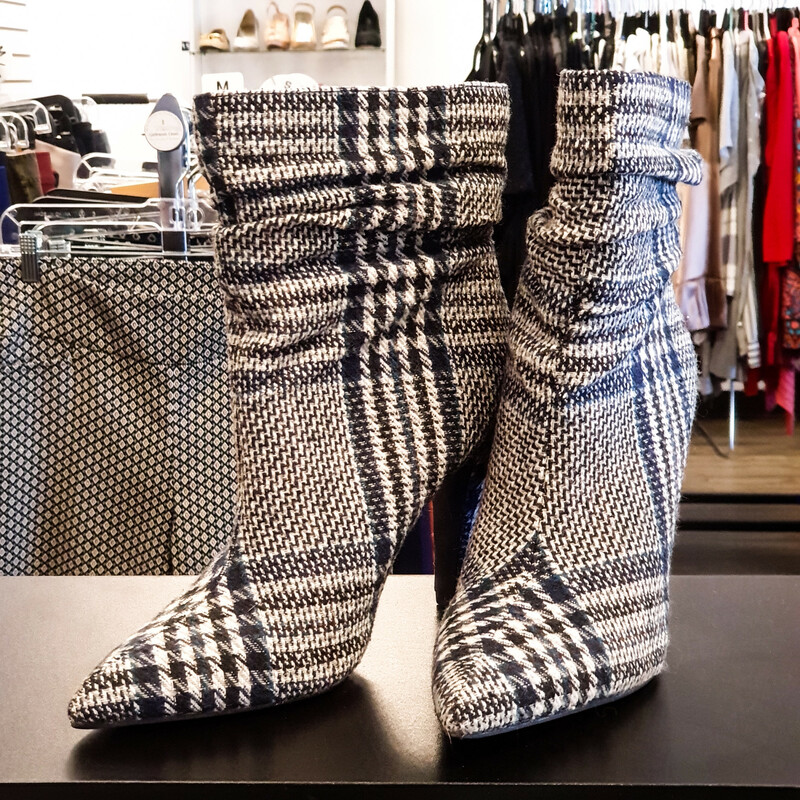 JustFab Plaid Ankle Boots.