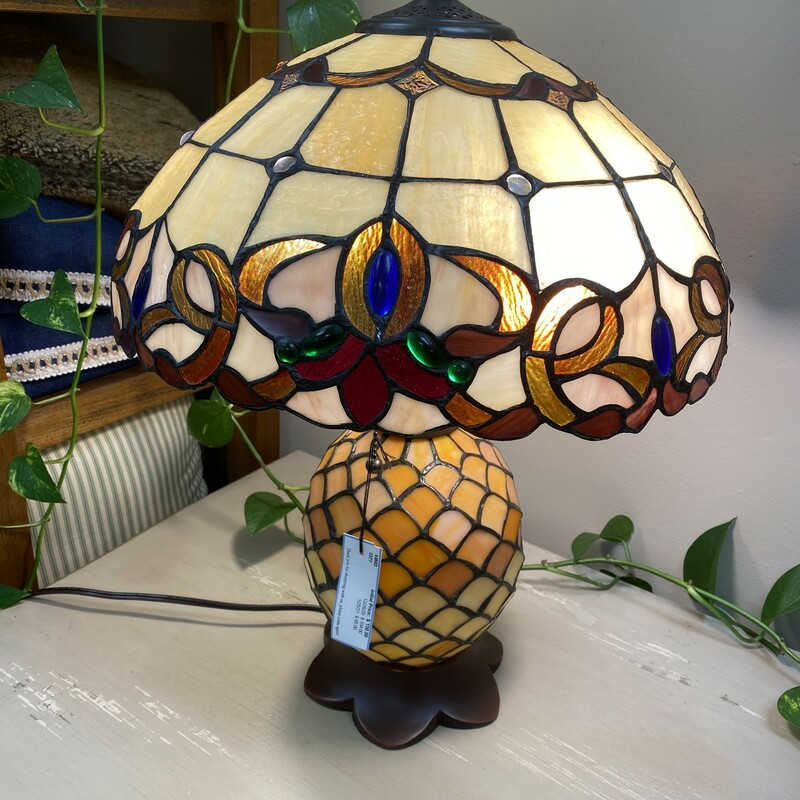 Stained Glass Lamp, Orange, Size: 22 Inch
