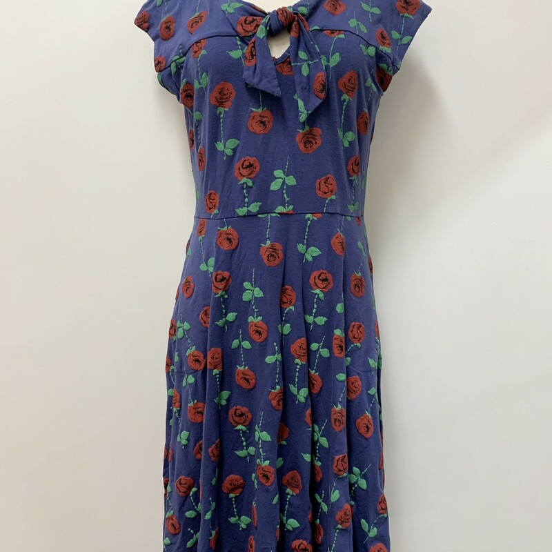 Effies Heart Rose Print Dress<br /> Size: Large<br /> Color: Blue/Red