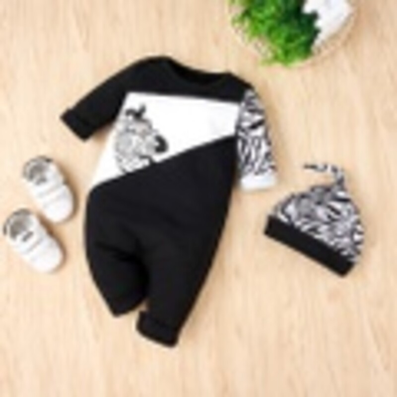 2pc Knit Romper, Black, Size: 3m Boy