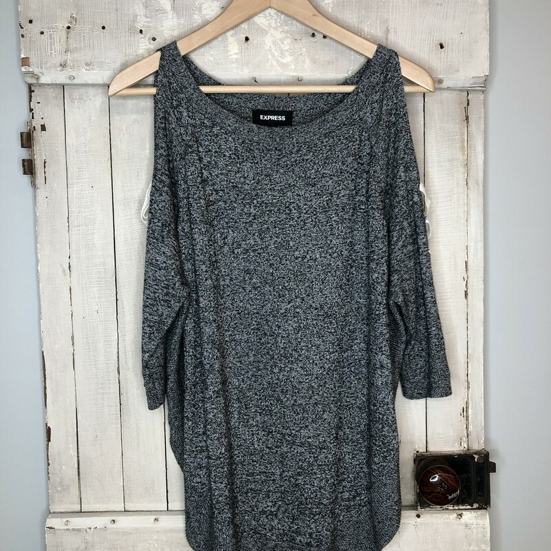 Cold Shoulder TunicExpres, Gray, Size: Xsmall