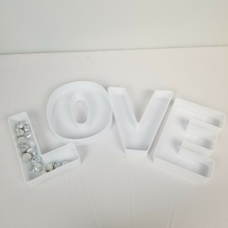 Plastic LOVE Dish Set, White, Size: 4 Pc<br /> <br /> Each Letter Dish Approximately 7.5x7x1.5