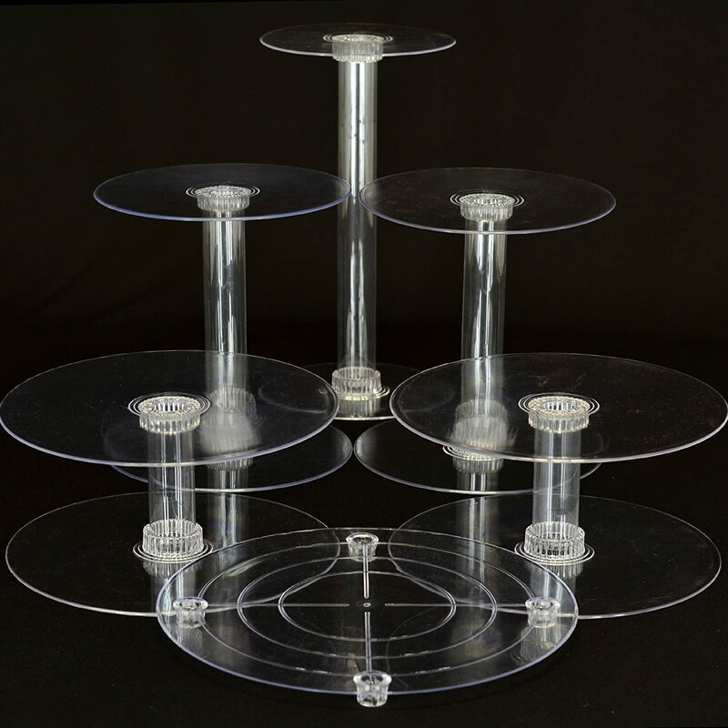 "6 Tier Cascade Stand, Clear, Size: 16 Pc<br /> <br /> Set Includes:<br /> (2) 6"" Plate<br /> (4) 8"" Plate<br /> (4) 10"" Plate<br /> (1) 14"" Low Profile Plate<br /> (2) 5"" Tube<br /> (2) 10"" Tube<br /> (1) 15"" Tube"