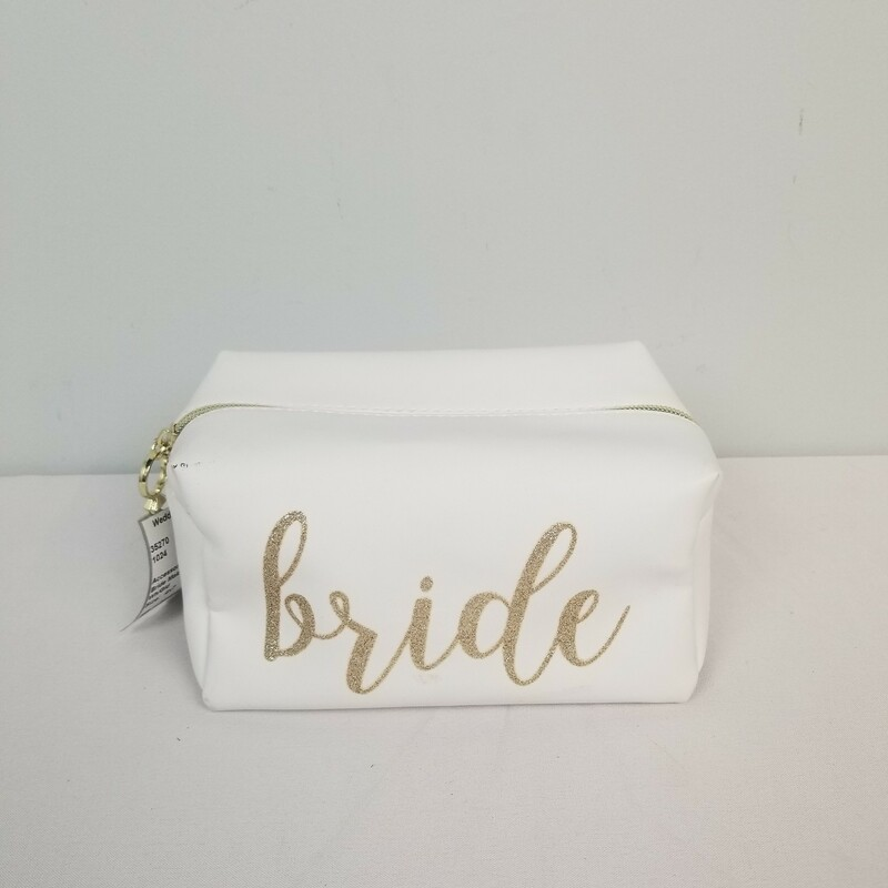 Bride Makeup Bag, White/Gold, Size: 4x7