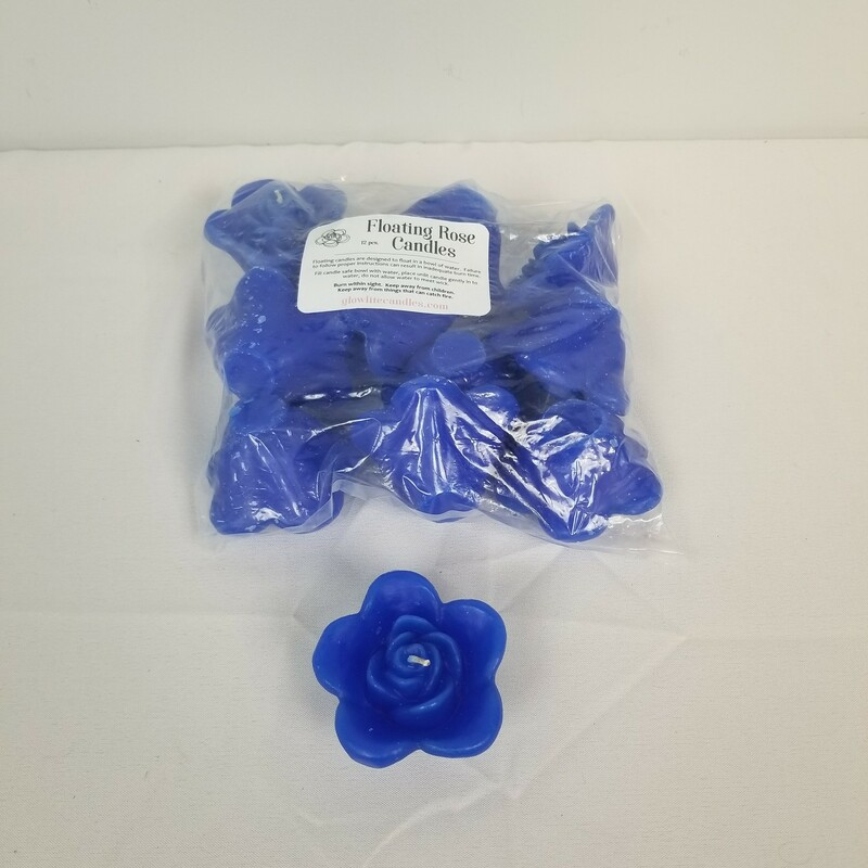 Rose Floating Candles, Blue, Size: 12 Ct