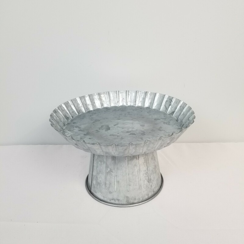 Tin Cake Stand, Silver, Size: 10 In