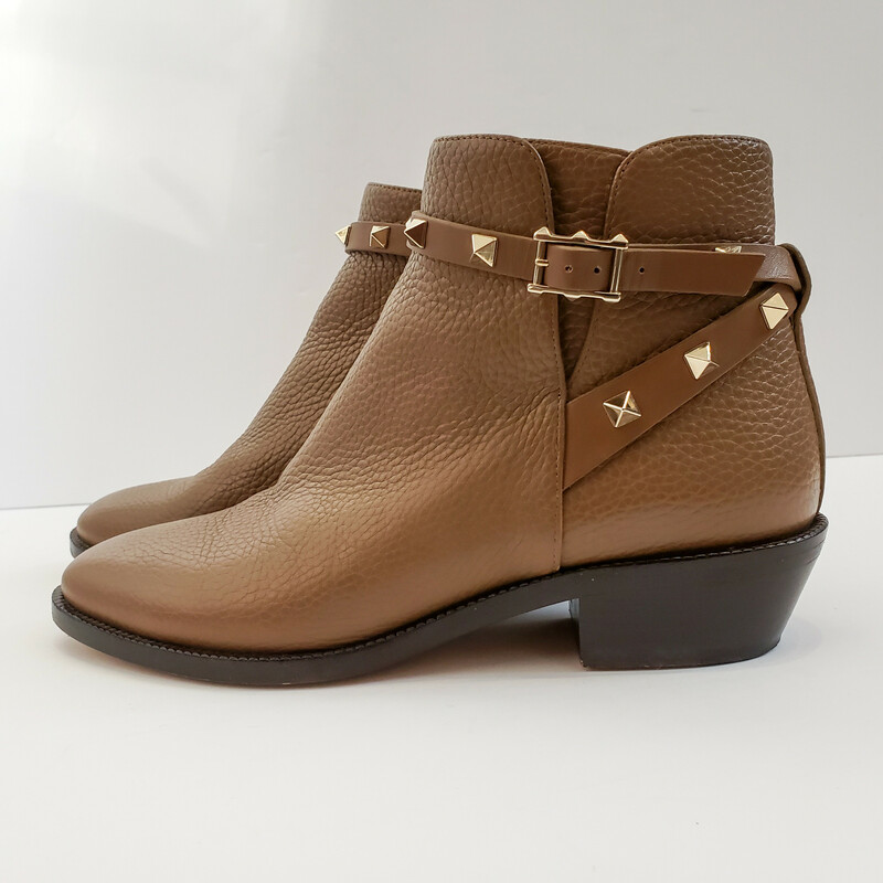 Valentino<br /> Rockstud Ankle Boot<br /> Brown and Gold<br /> Size 37 US 7