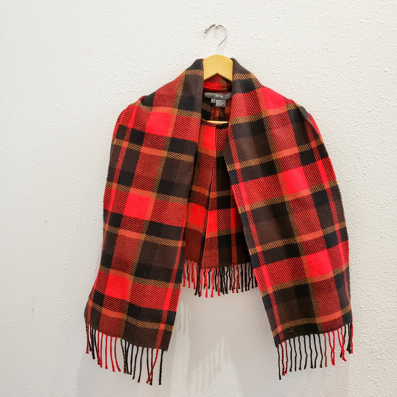 Per Se<br /> Red and Black Plaid Mini Cape<br /> 100% Wool<br /> Attached Scarf with Fringe
