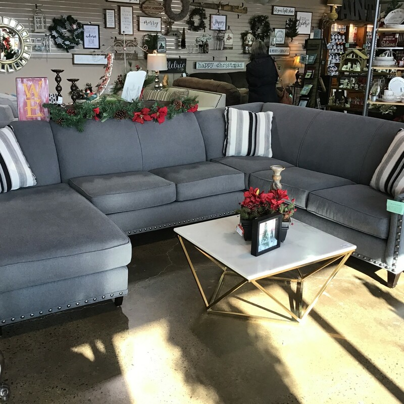 Grey Sectional W/Chaise.