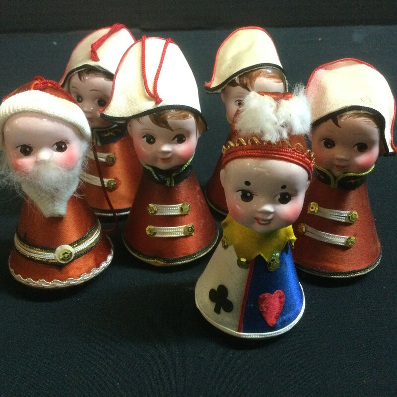 Playful holiday figures; set of 6. Good condition