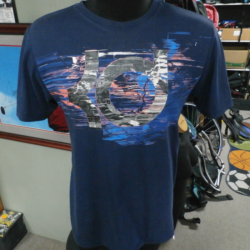 "Nike Dri-Fit Kevin Durant T-shirt blue size medium cotton blend #24753<br /> Rating: (see below) 3- Good Condition<br /> Team: n/a<br /> Player: Kevin Durant<br /> Brand: Nike<br /> Size: Men's Medium (Measured Flat: chest 20"", length 27"")<br /> Color: Blue<br /> Style: short sleeve; screen printed<br /> Material: 58% cotton 42% polyester<br /> Condition: 3- Good Condition; wrinkled; some pilling and fuzz; material is stretched and worn from wearing and washing; some discoloration and fading; no rips or tears; light white marks on right shoulder(see photos)<br /> Item #: 24753<br /> Shipping: FREE"