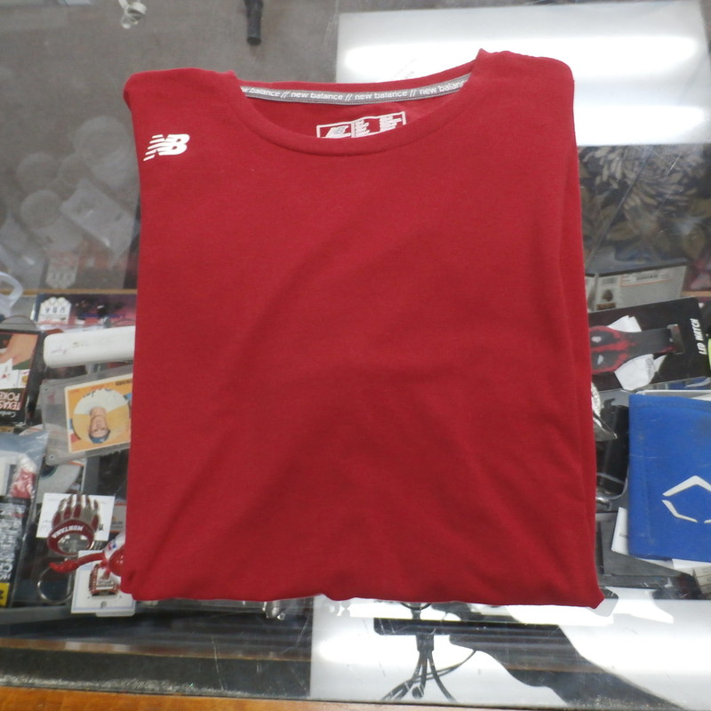 "Title: New Balance men's athletic shirt red small #24750<br /> Our Clothes Rating: 3- Good Condition<br /> Brand: New Balance<br /> size: men's small- (Chest: 19"" Length: 25"")<br /> color: Red<br /> Style: Crew Neck; athletic shirt<br /> Condition: 3- Good- overall good condition; wrinkled; slight fading and slightly worn from use<br /> Shipping: FREE<br /> Item #: 24750"