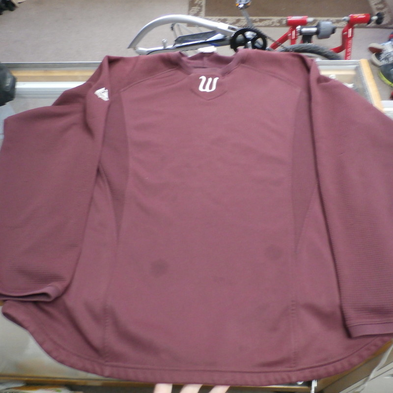 "Title: Majestic Men's pullover long sleeve plum XL #24498<br /> Our Clothes Rating: 4- Fair Condition<br /> Brand: Majestic<br /> size: men's XL- (Chest: 25"" Length: 28"")<br /> color: Plum<br /> Style: Crew Neck; long sleeve; therma base;<br /> Condition: 4- Fair- noticeable heavy staining throughout the front; other stains throughout; the fabric is off colored and faded throughout; some snags; some loose strings on the seams; pilling and fuzz inside and out<br /> Shipping: FREE<br /> Item #: 24498"