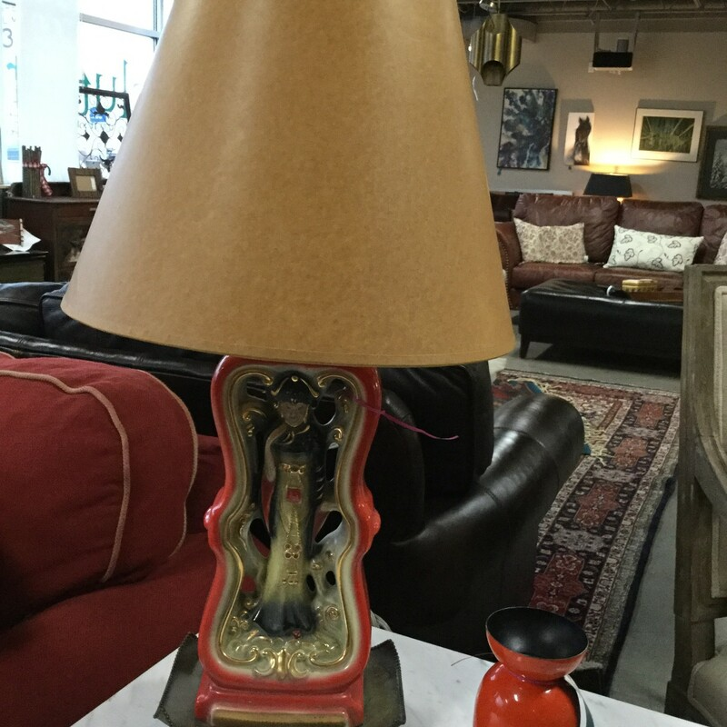 Vintage Lamp Asian, Red, Brown Shade, 2 Available