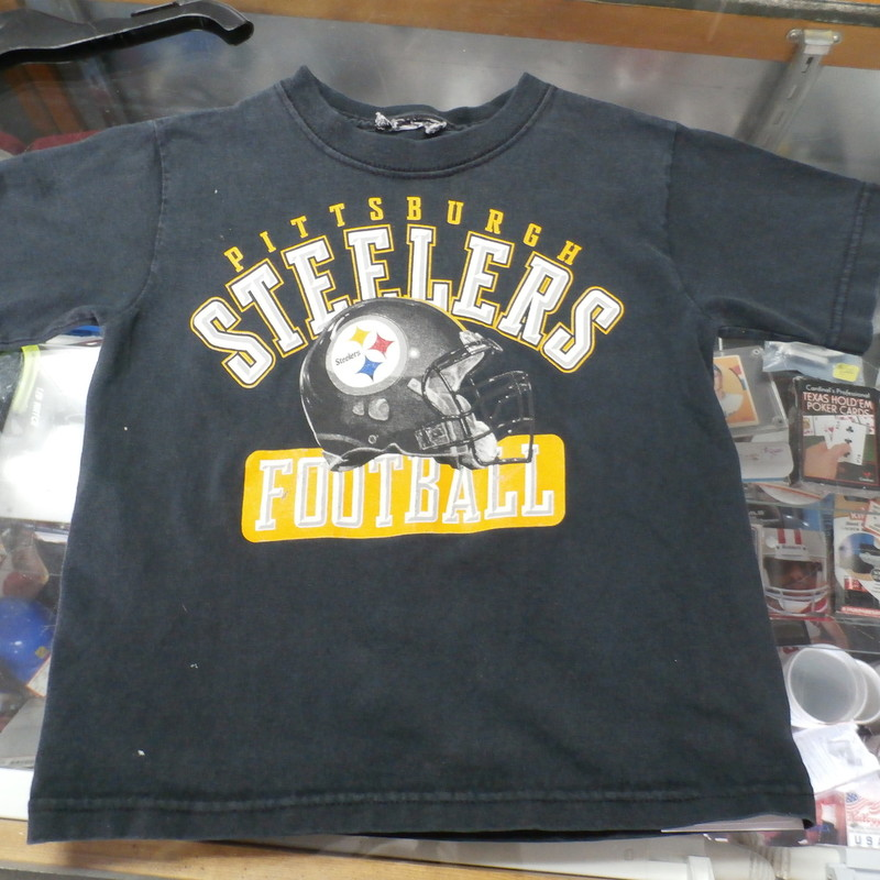 "Pittsburgh Steelers YOUTH shirt black size TODDLER #24853<br /> Rating: (see below) 4- Fair Condition<br /> Team: Pittsburgh Steelers<br /> Player: n/a<br /> Brand: tag missing<br /> Size: Tag missing- toddler- (Measured Flat: chest 14"", length 16"")<br /> Color: black<br /> Style: screen printed; short sleeve<br /> Material: tag missing<br /> Condition: 4- Fair Condition - some pilling and fuzz; wrinkles; some stretching and wear from washing and wearing; no rips or tears; two small white stains on front upper right, near the shoulder; two small white stains on lower right front; screen printing is cracked and worn; tags are missing (see photos)<br /> Item #: 24853<br /> Shipping: FREE"