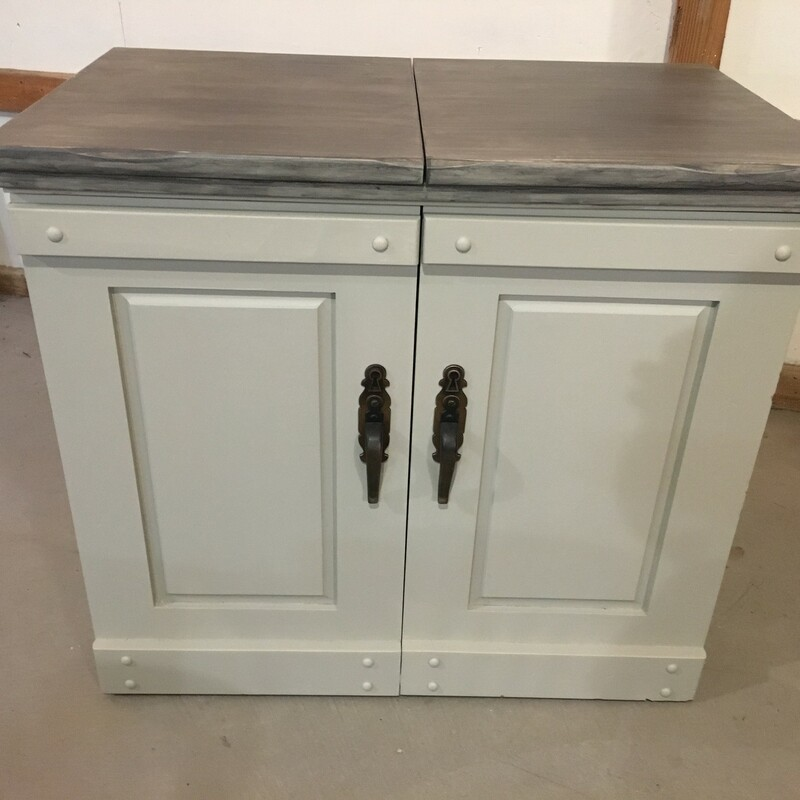 Vintage Electric Sewing Table, revived with Fusion MIneral Paint in Little Lamb and topcoated with Fusion Gel Stain in Grey Stone.<br /> Electric mechanism works perfectly to raise sewing machine OR repurpose this as a fun Liquor cabinet!<br /> 68L (open) 34L (closed) x 20W x 31H<br /> Call for 24 hour hold.<br /> For Pickup Only.<br /> Subject to 7% PA Sales tax upon purchase