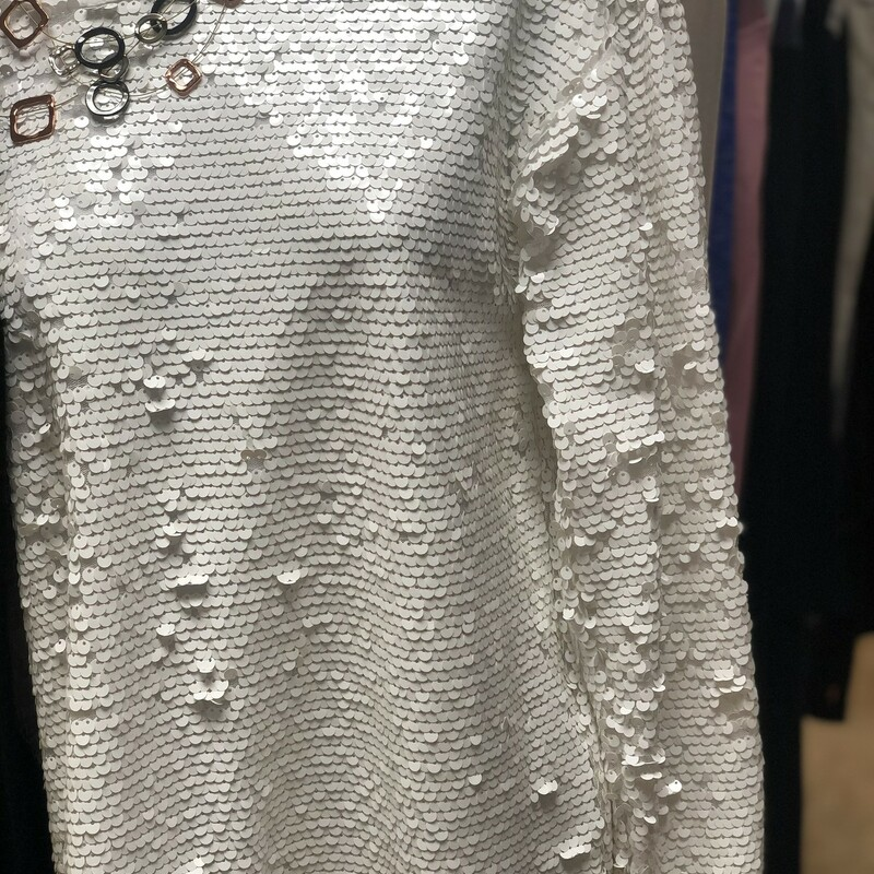 Ls Sequins, White, Size: XL