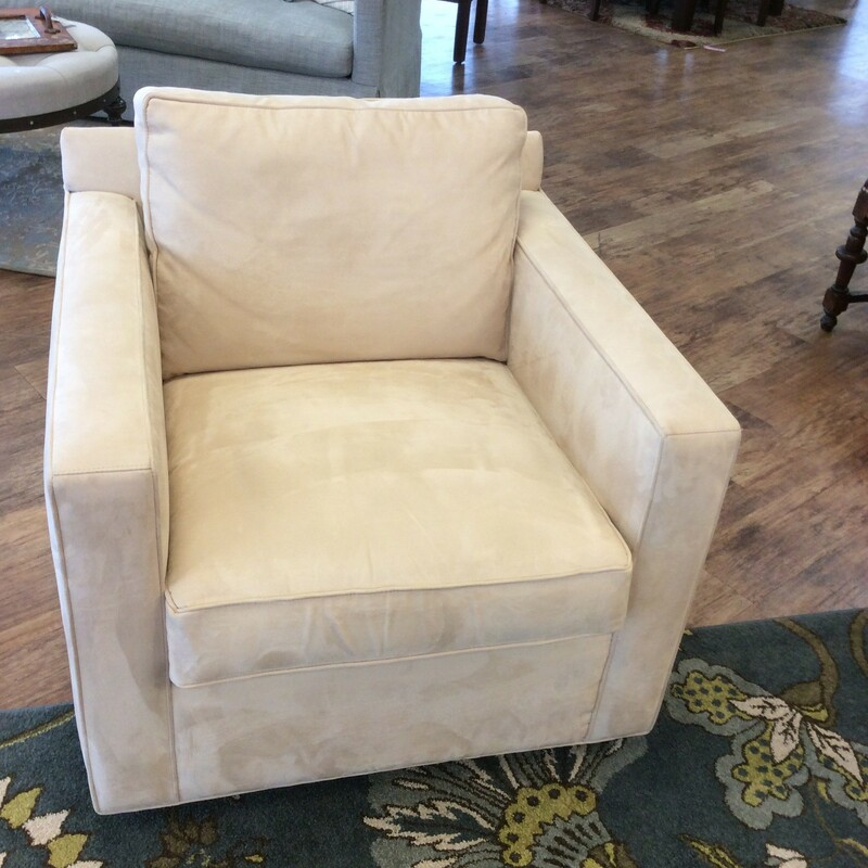 This gorgeous duo is from CRATE & BARREL and looks brand spanking new. All of the cushions are removable for easy cleaning. The French vanilla colored upholstery looks and feels like ultra suede, but is actually a super soft, yummy feeling microfiber. Best of all, though, is that these little beauties swivel!Only $995 for the pair!