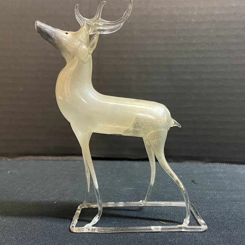 Delicate; white blown mercury glass standing deer figurine