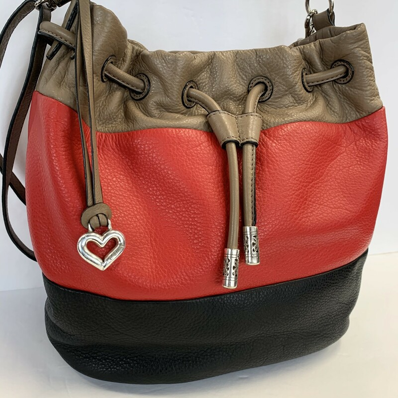 Brighton Brodie Bag<br /> Bucket Style<br /> Red, Brown & Black<br /> Convertible: Crossbody, shoulder or satchel