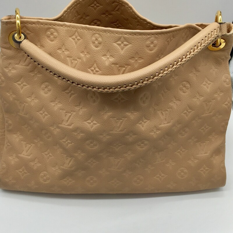 "Dune monogram Empreinte leather Louis Vuitton Artsy MM with brass hardware, single rolled shoulder strap featuring whipstitch detailing, protective feet at base, beige and black striped canvas lining, seven interior pockets; one with zip closure and open top. Includes dust bag.<br /> Details<br /> Handle Drop: 6""<br /> Height: 13\""<br /> Width: 16\""<br /> Depth: 7\""<br /> <br /> LV Artsy Mono Empreinte M, CREAM, Size: THH"