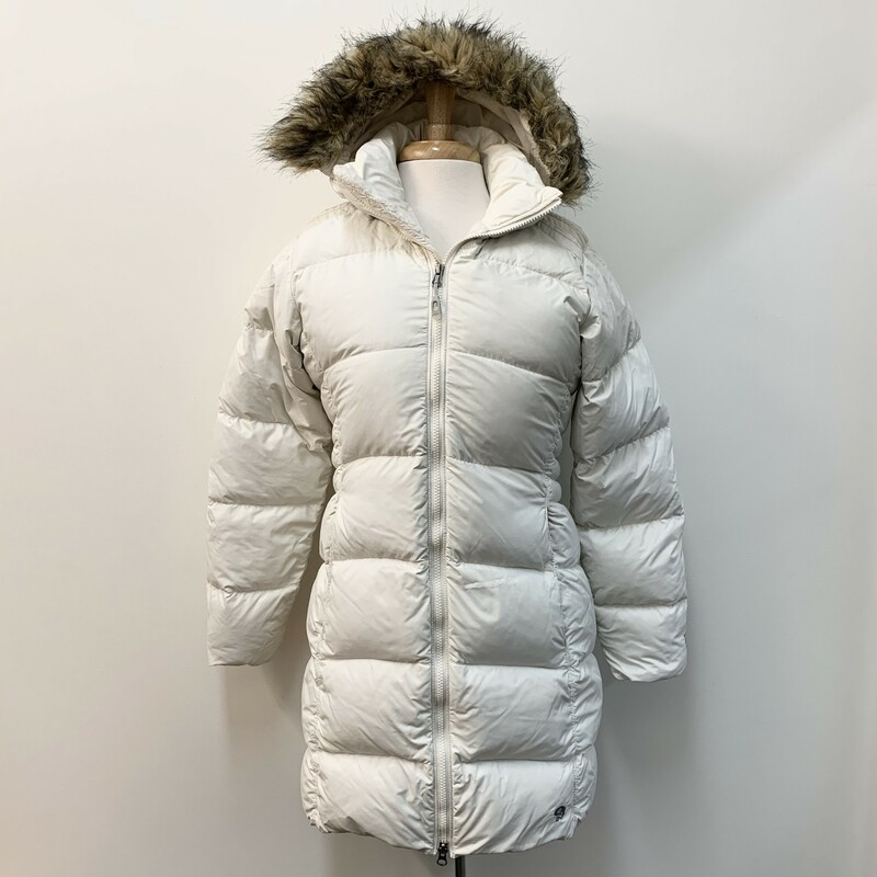 Mountain Hardwear Coat<br /> Goose Down<br /> Hooded<br /> Ivory<br /> Size: Small