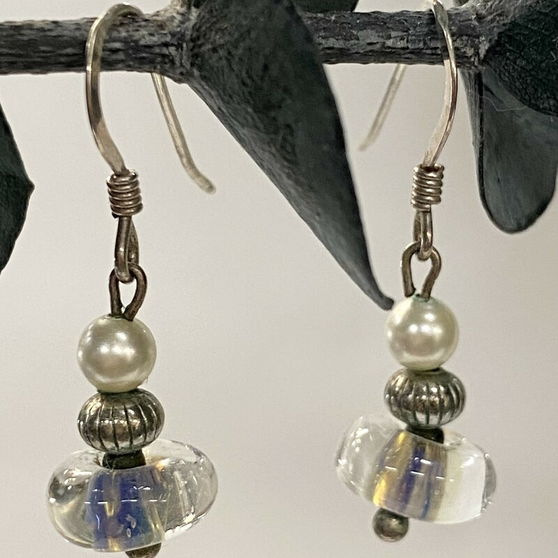 .925 Lampwork Earrings<br /> Blue and clear glass with tiny pearl & Silver bead<br /> Wire Dangle