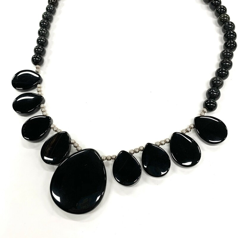 Onyx & Agate Necklace<br /> Black<br /> .925 clasp