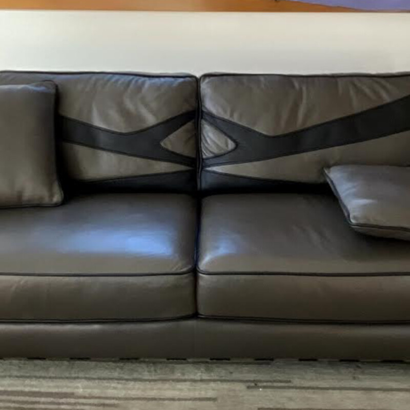 Grey/Black Chrome Sofa.