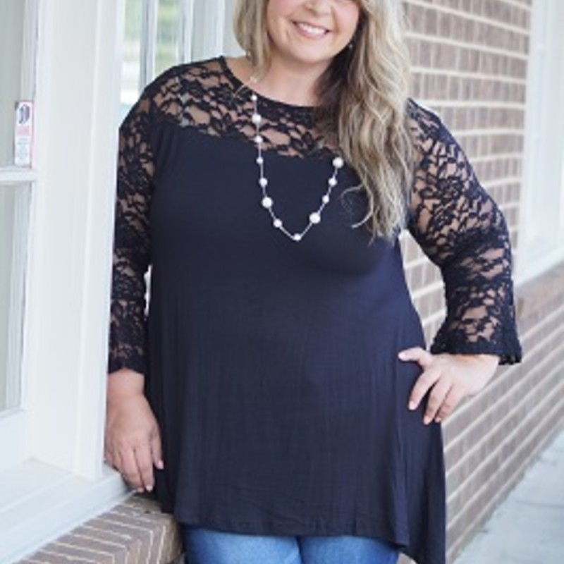 Our new arrived Lace Yolk Tunic is gorgeous and a must have! This would be perfect to put with jeans or a legging to make the best outfit for any occasion. The material is made of 95% Rayon, 5% Spandex and has a length 33in.