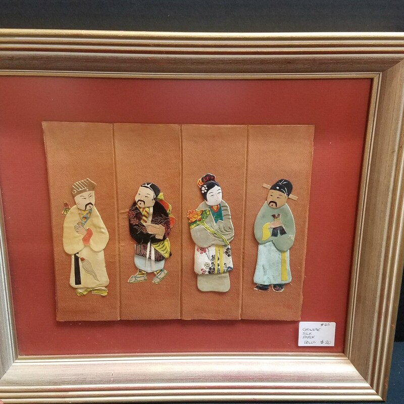 Framed Silk Dolls.