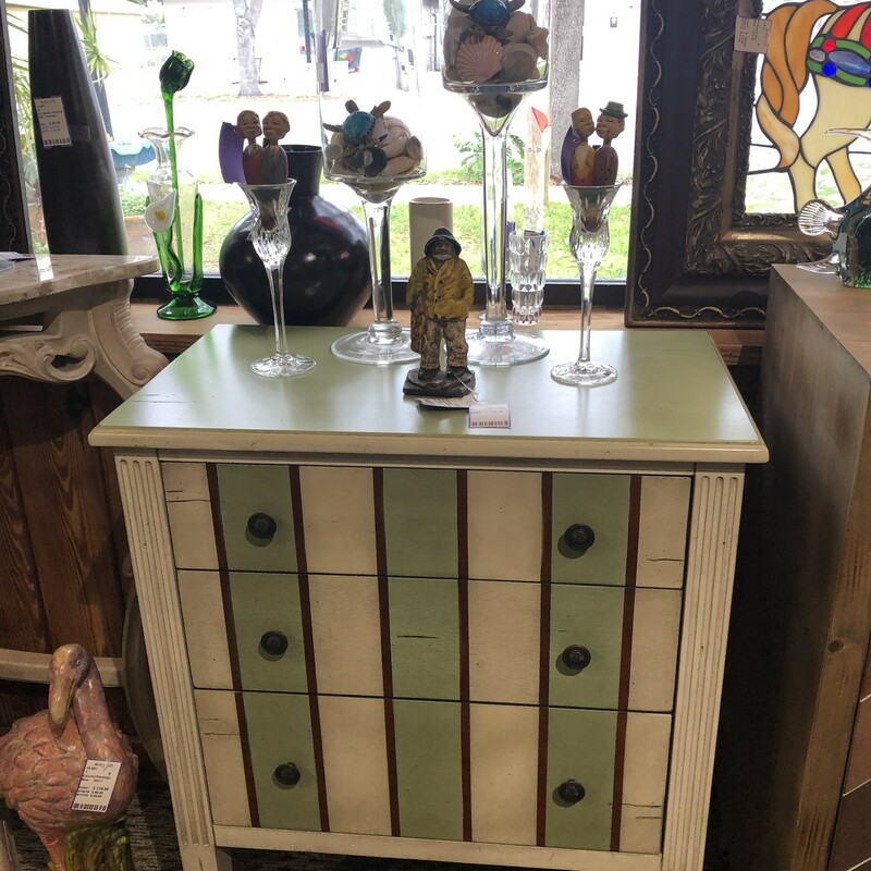 3 Drawer Accent Chest, Used, Size: 14d 25 w 31t<br /> <br /> Pier 1, three drawer accent chest painted in light green, creams and brown stripes.