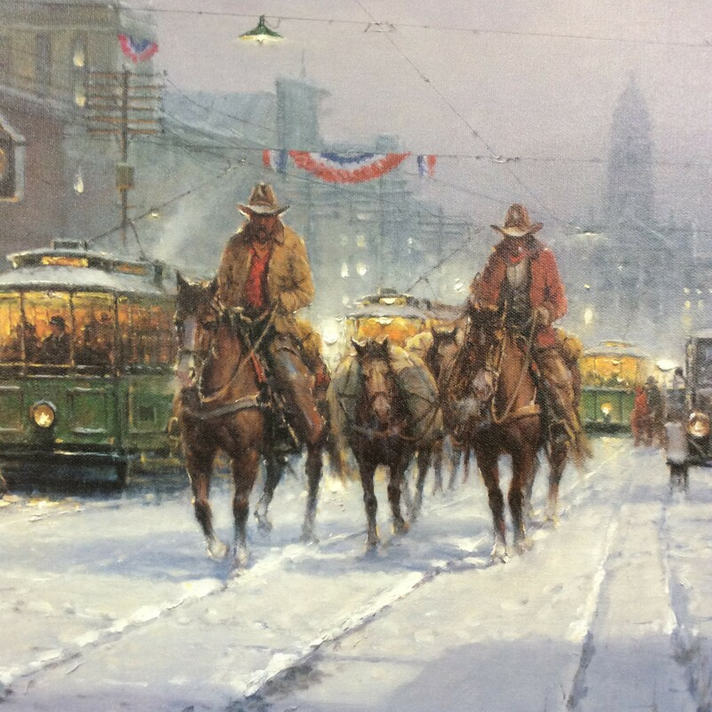 Trailhands and Trolleys by G. Harvey is gorgeous! It is a limited edition unframed canvas.The setting is old Fort Worth. The print is signed, numbered and comes with a Certificate of Authenticity.