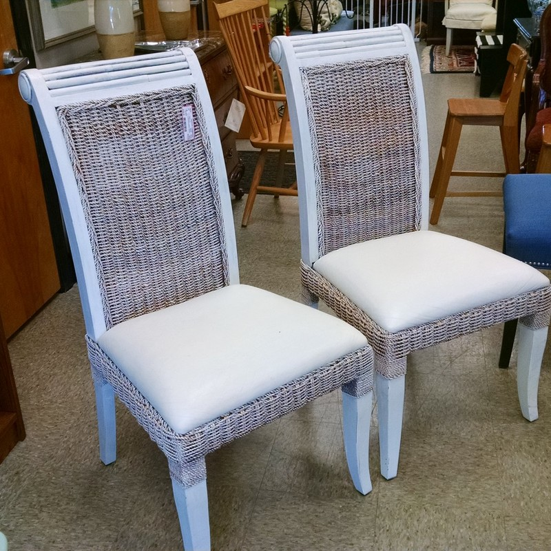 2 Wicker/Leather Chairs