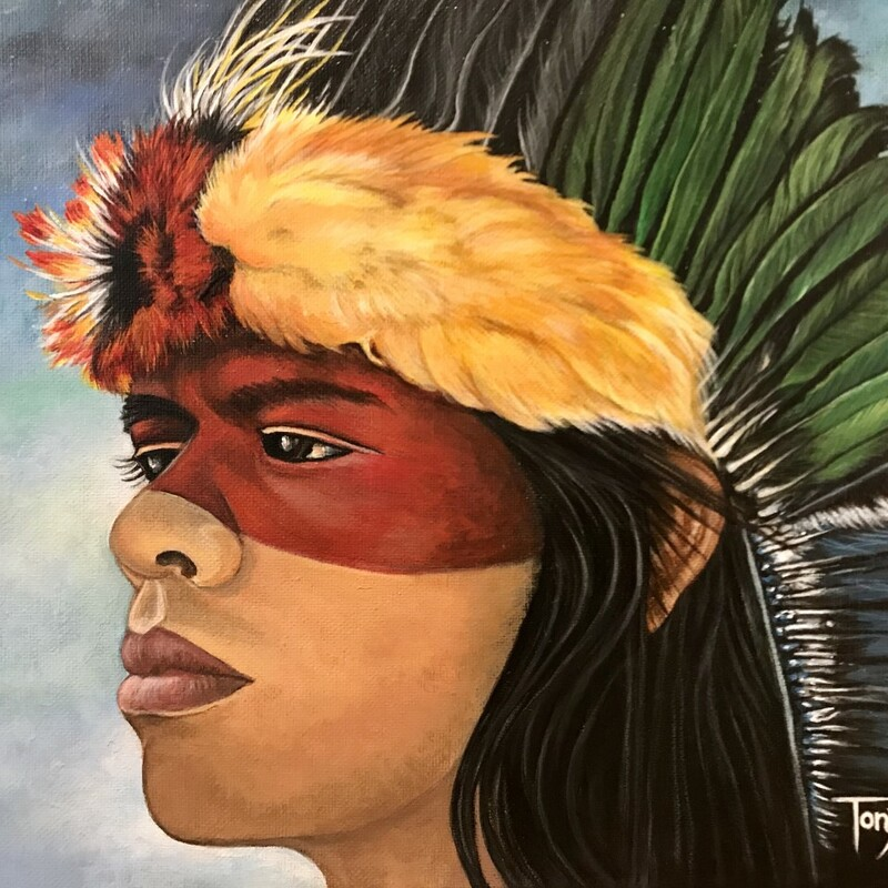 Title: Hiawatha's Headdress<br /> Artist: Tonya Hopson<br /> Size: 12X16<br /> Medium: Acrylic<br /> Statement: