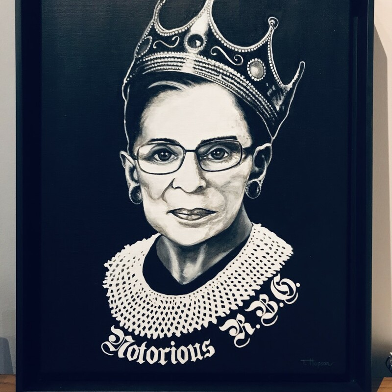 Title: Notorious R..B. G.<br /> Artist: Tonya Hopson<br /> Size: 18x24<br /> Medium: Acrylic<br /> Statement: In memorandum of the Honorable Ruth Bader Ginsburg U.S. Supreme Court Justice.