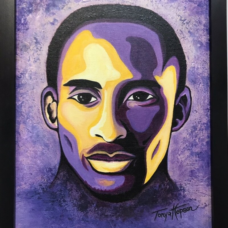 Title: Kobe<br /> Artist: Tonya Hopson<br /> Size: 11x14<br /> Medium: Acrylic<br /> Statement: In memorandom of Kobe Bryant an amazing life remembered. Acrylic painting in Lakers colors with black frame.
